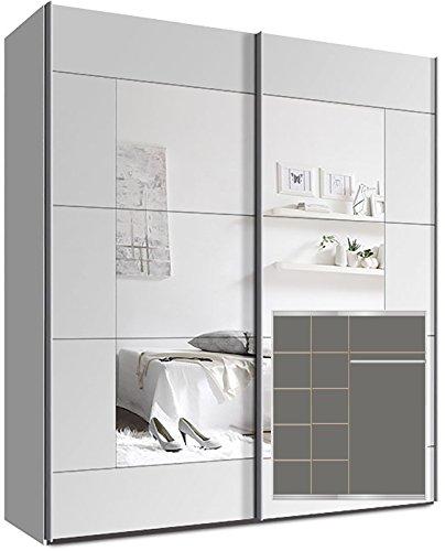 Kleiderschrank-Schwebetrenschrank-ca-180cm-inkl-9-Einlegebden-Wei-Spiegel
