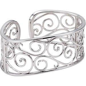 Sterling Silver Rough Diamond Bangle Bracelet 1/4ct - JewelryWeb