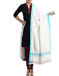 Unnati Silks Women Cream Pure Handloom Andhra Khadi Cotton dupatta