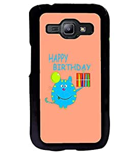 Fuson Premium Happy B`Day Supi Metal Printed with Hard Plastic Back Case Cover for Samsung Galaxy J1