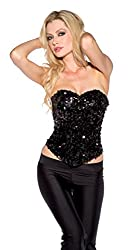 Showtime Shirley Women's Strapless Sequin Corset, Black, Large