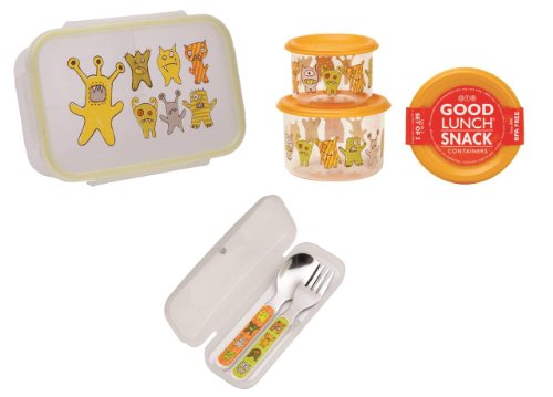 Sugarbooger Divided Lunch Box, (2) Small Storage Containers, and Silverware- Hungry Monsters - 1