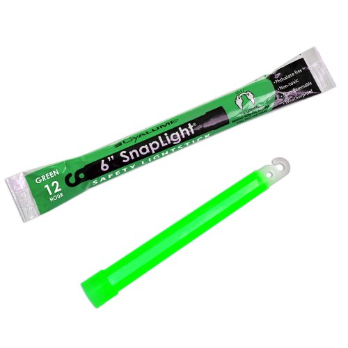 "Cyalume SnapLight Industrial Grade Chemical Light Sticks, Green, 6"" Long, 12 Hour Duration (Pack of 10)"