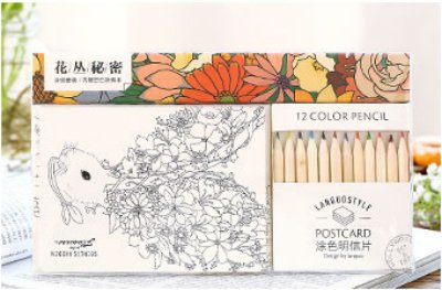 Black Menba ®12PCS Secret Hidden In the Flowers Coloring Greeting Cards Postcards come with 12 Colored Penscils&Doodle Book