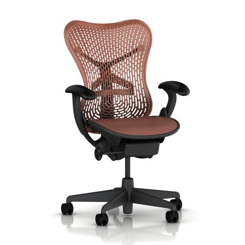 Mirra Chair by Herman Miller - Basic - Graphite Frame - Hard Floor Casters - Terra Cotta