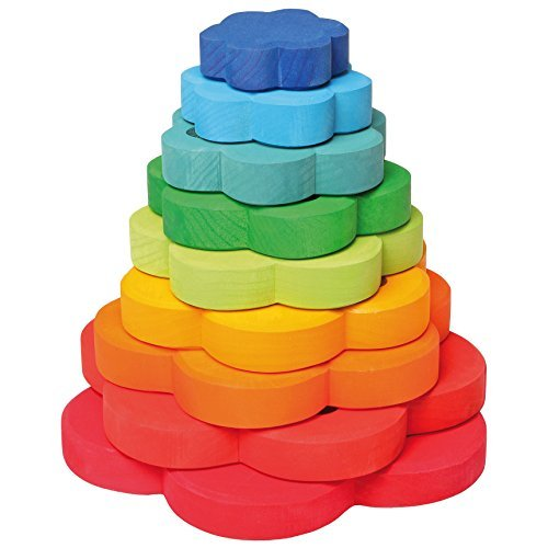 Grimm's Large Flower Tower - Wooden Rainbow Stacking Conical Tower with 8 Decorative Pieces - 1