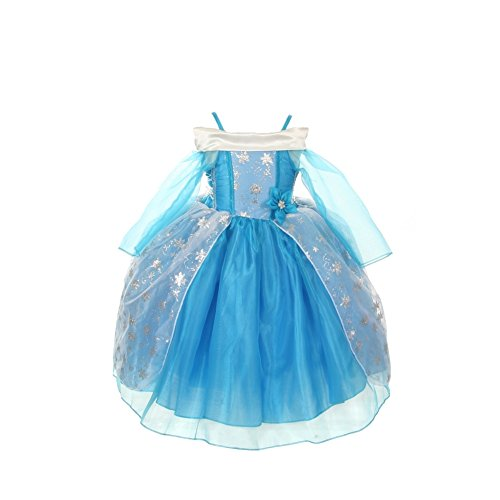 Cinderella Couture Girls Ice Blue Sparkly Star Print Cape Dress Costume 1-6