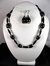 Fashion Jewelry Set - Black Obsidian Bead Necklace with Earring Set - Earring and Necklace Set