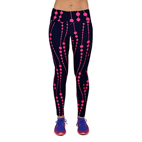Ouneed® Yoga Sport pants,Vita Alta YOGA di forma Fisica di Sport Pantaloni Stampati Stirata nove Punti delle Ghette (Rosa caldo, L)