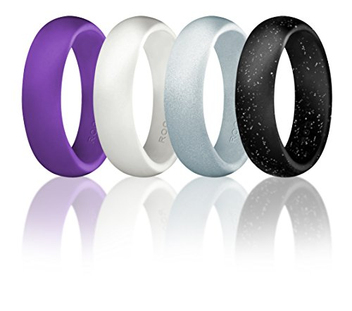 Silicone Wedding Ring For Women By ROQ, Set of 4 Silicone Rubber Wedding Bands - Black with Glitter Sparkle Silver, Purple, White, Metal Look Silver - Size 7