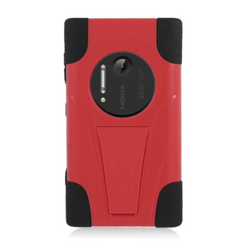 Eagle Cell Nokia Elvis/1020 Hybrid Double Layer Heavy Duty Armor Y Case With Built-In Kickstand - Retail Packaging - Black/Red
