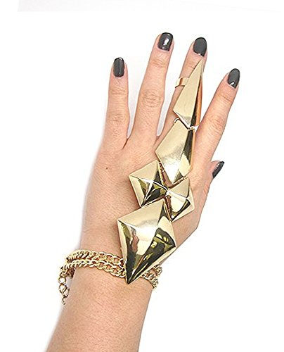 Gold Tone Claw Ring-Bracelet Hand Jewelry JB2001GD