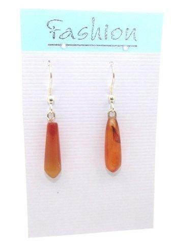 Carnelian Polished Gemstone Droplet Earrings