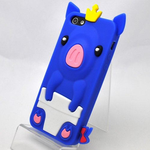 3D Cute Crown Pig Silicone Case For Iphone 5 – Blue + Free Screen Protector