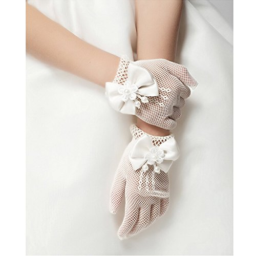 Unilove Flower Girl Gloves White Ivory Lace Short Princess Gloves for Wedding (White)
