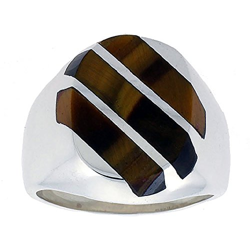 Sterling Silver Tiger Eye Ring for Men Large Oval 3 Stripe Diagonal Solid Back Handmade, size 10