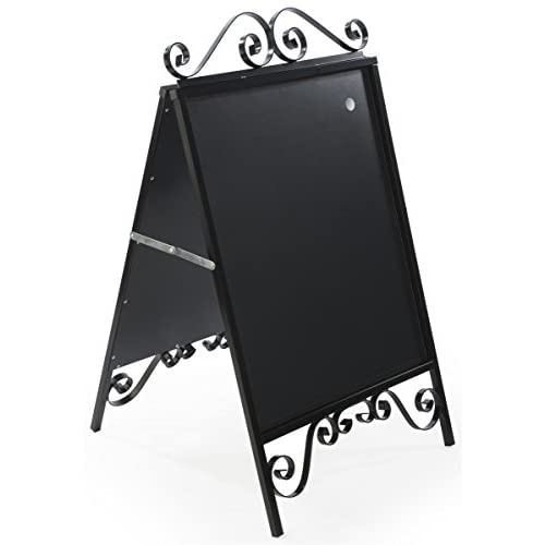 Displays2go A-Frame Sidewalk Sign, Sandwich Board, 22 x 28-Inches, Magnetic Lens Black Steel (OLDSN2228)