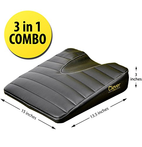 Marvelous For Your Office Chair Home and Car Comfort Foam with Black Vinyl Cover Stability Seat Wedge by Clever Yellow