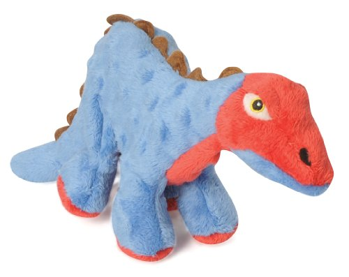 goDog Dinos Spike With Chew Guard Technology Tough Plush Dog Toy, Blue, Small