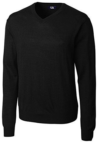 Cutter & Buck Men's Douglas V-Neck Sweater, Black, Large