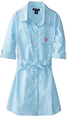 US Polo Association Big Girls' Pin Striped Shirt Dress, Surf Blue, 7