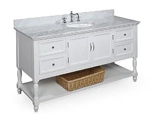 Beverly 60-inch Single Sink Bathroom Vanity (Carrara/White ...