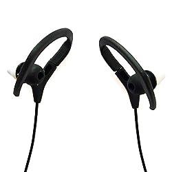 CurioCity (TM) Universal & Sweat-proof Wireless Bluetooth V4.1 Headset / Earphones with Mic, Necklace Style Sports Running In-Ear Headphones / Earhook Headset (Black)