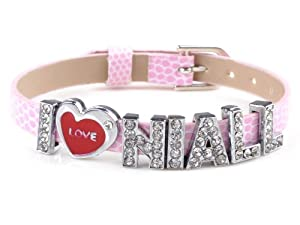 Fashion I Love Niall One Direction Pink Wristband Bracelet Slider Zircon Crystal Letter by Yiwu City Yinuo E-Commercial Business Co.,Ltd