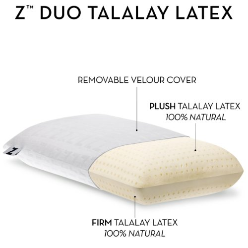 Z by Malouf Duo-Latex Two-Sided Talalay Latex Plush and Firm Pillow, QUEEN