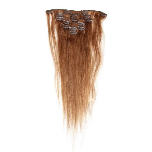 Decus Echthaar Clip in Extensions Remy Haarverlängerung glatt Straight Clip On Hair (14 inch 70g, #6 Light Brown)