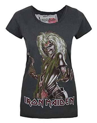 Official Amplified Iron Maiden Killers Womens Charcoal Scoop Neck T-Shirt-Large