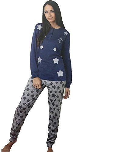 pigiama donna ragazza IRGE caldo cotone nuova collezione art.ir81 (L, BLU)