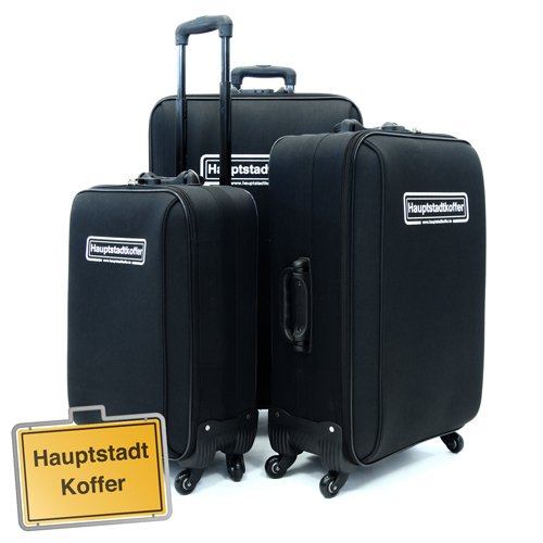 3er Set Softcase Kofferset Schwarz von Hauptstadtkoffer