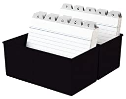 Han 977-13 Card Index Box A7 for 300 Cards Plastic Black