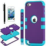 High Impact Heavy Duty Two Tone Hard and Soft Hybrid Rugged Armor Sports Combo Case for Apple iPod Touch 5 5th Generation (Blue& Purple, Ipod touch 5)