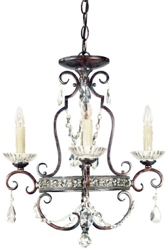 Quoizel QMC402RL Seville 4-Light Mini Chandelier, Royal Bronze with Crystal Drop Accents Quoizel B000FMPD8M