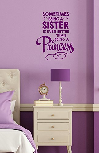 "Wall Decor Plus More WDPM3391 Being A Sister is Better than Being A Princess Girls Room Lettering Vinyl Sticker Quote Wall Decal, 23 x 18"", Plum"