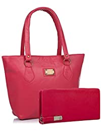 Flora Women's Combo Of Handbag And Wallet( Pink , Flora-124)