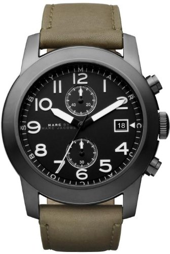 Marc by Marc Jacobs Larry Chronograph Olive Leather Mens Watch MBM5034