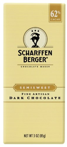 Scharffen Berger Chocolate Bar, Semisweet Dark Chocolate (62% Cacao), 3-Ounce Packages (Pack of 6)