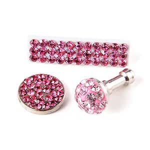 Lot 3x strass pour iphone 4/ 4s prise diamant bouchon+sticker home couleur rose clair
