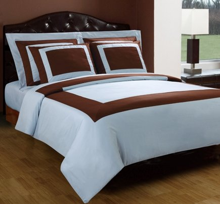 10-PC Chocolate & Blue Queen size Hotel Down