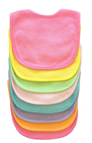 Neat Solutions 21 Pack Multi-Color Solid Knit Terry Feeder Bib - Girl front-986330