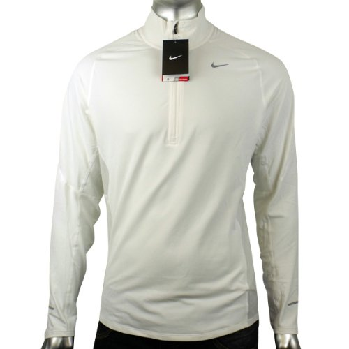 Mens Nike Dry Dri FIT Running Training Shirt Reflective White L/S Tee Top S