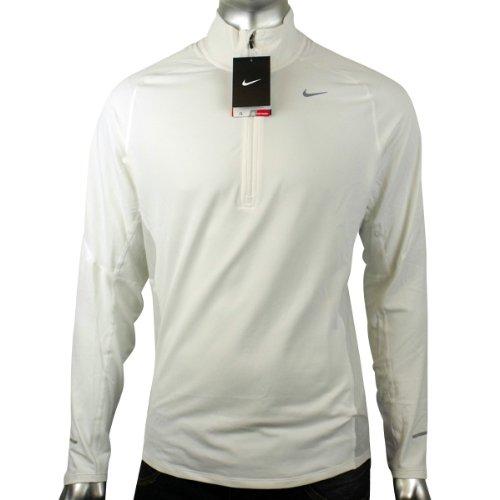 Mens Nike Dry Dri FIT Running Training Shirt Reflective White L/S Tee Top S