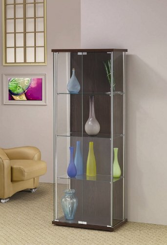 Image of Curio China Cabinet with Glass Front Cappuccino Wood Back (VF_950173)