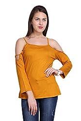 New Sierra women cotton knitted mustard cut stripe strip long sleeves top