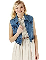 Angel Cotton Rich Denim Spotted Gilet