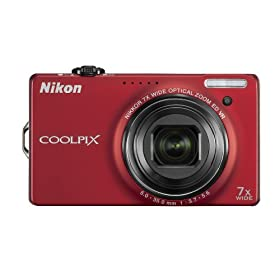 The Electronics World| Nikon Coolpix S6000 14.2MP Digital Camera with 7x Wide Angle Optical Vibration Reduction (VR) Zoom and 2.7″ LCD (Red)