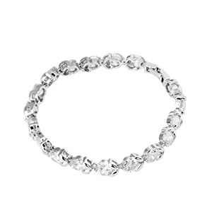 Pugster Apr Birthstone Clear White Crystal Silver Tone Bracelet